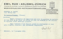 Lettre / Fabrique D´Instruments De Musique/Emil RUH/Adliswil/Zürich/Suisse/Courbe/La Couture Boussey/1930   PART185 - Musik & Instrumente