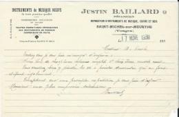 Lettre / Fabrique D´Instruments De Musique/Justin BAILLARD/Saint Michel/Vosges/Courbe/La Couture Boussey/1930   PART186 - Musik & Instrumente