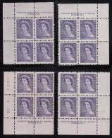 Canada MNH Scott #328 4c Queen Elizabeth II, Karsh Portrait - Plate No.1, Matching Set Of Corner Blocks - Num. Planches & Inscriptions Marge