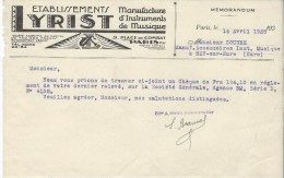 Mémorandum/ Fabrique D´Instruments De Musique/Etablissements LYRIST/Courbe/La Couture Boussey/1935   PART187 - Music & Instruments