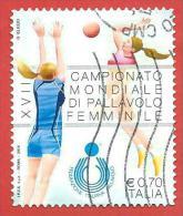 ITALIA REPUBBLICA USATO - 2014 - Campionato Mondiale Di Pallavolo Femminile - € 0,70 - S. ---- - Barcodes