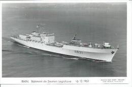 """CP PHOTO:  """" RHIN """" -  BATIMENT DE SOUTIEN LOGISTIQUE  A 621  -  16-10-1963  (  -   BATEAU DE GUERRE   ) - Guerre"""