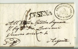 11794 01 PAPAL STATE CESENA X ARGENTA - ANNO 1856 CON TESTO - Italia