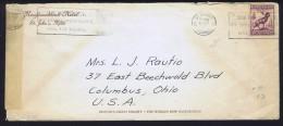 1941   Censored Letter To USA  Sc 190 Die I  Hotel Corner Card - 1908-1947