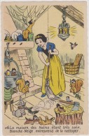 Cpa,walt  Disney,mickey Mouse,( Blanche Neige Et La Maison Des Nains,ecureuil,lapin - Disney