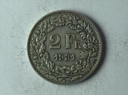 Suisse Switzerland 2 Francs Argent Silver 1931 - Svizzera