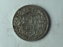 Suisse Switzerland 2 Francs Argent Silver 1932 - Svizzera