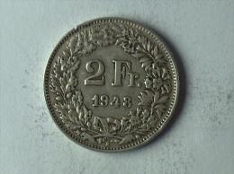 Suisse Switzerland 2 Francs Argent Silver 1948 - Svizzera