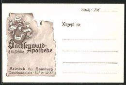 Dekorativer Brief Reinbek, Sachsenwald - Apotheke Landhausplatz, H. Güssefeldt, Wappen - Old Paper