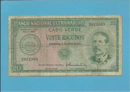 CAPE VERDE - 20 ESCUDOS - 04.04.1972 - P 52 - SERPA PINTO - PORTUGAL - Cap Vert