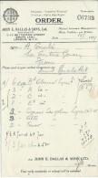 Bon De Commande/Fabrique D'instruments De Musique/John & SionsDallas /Londres/Courbe/La Couture Boussey/1927   PART190 - Musique & Instruments