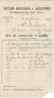 Bon De Commande/Fabrique D´instruments De Musique/J LASHERMES/St-Romain-en-Gal//Courbe/La Couture Boussey/1927   PART191 - Music & Instruments