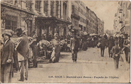 NICE MARCHE AUX FKEURS FACADE DE L'OPERA CPA NO 116 TRES ANIMEE - Markets, Festivals