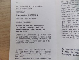 Doodsprentje Clementina Cremers Diepenbeek 9/5/1897 Genk 7/2/1976 ( Mathieu Theelen ) - Religion & Esotérisme
