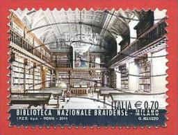 ITALIA REPUBBLICA USATO - 2014 - Eccellenze Del Sapere - Biblioteca Nazionale Braidense, Milano - € 0,70 - S. 3482 - 2011-...: Afgestempeld