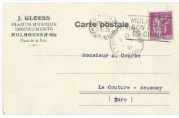Carte Postale Sans Illustration /Fab. Instrum.  Musique/GLOESS/Mulhouse/Courbe/La Couture Boussey/1935  PART203 - Musik & Instrumente