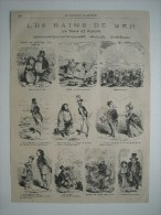 GRAVURE 1869. LES BAINS DE MER. TRAINS DE BAMBOCHES POUR DIEPPE. UN TRAIN DE PLAISIR. 10 CARICATURES. - Prints & Engravings