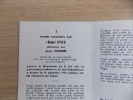 Doodsprentje Henri Stas Diepenbeek 22/7/1921 Leuven 10/9/1977 ( Julia Vannut ) - Religion & Esotérisme