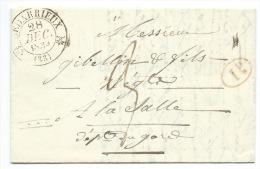 MARQUE POSTALE BEDARIEUX HERAULT POUR LASALLE GARD / 1834  / CAD TYPE 12 - Marcophilie (Lettres)