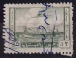 10 Lebanon 1957 Fiscal Stamp Phoenician Ship Design 2p Grey Green - Lebanon