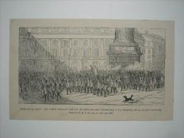 GRAVURE 1869.FETE DU 15 AOUT. LES VIEUX SOLDATS VENANT DEPOSER COURONNES COLONNE PLACE VENDOME. TABLEAU DE M. J. DUVAUX - Prints & Engravings