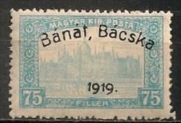 Timbres - Hongrie - Territoires - Banat-Bacska - 1919 - 75 F. - - Banat-Bacska