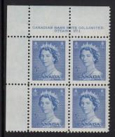 Canada MNH Scott #329 5c Queen Elizabeth II, Karsh Portrait - Plate No.1, Upper Left - Num. Planches & Inscriptions Marge