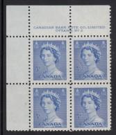 Canada MNH Scott #329 5c Queen Elizabeth II, Karsh Portrait - Plate No.2, Upper Left - Num. Planches & Inscriptions Marge