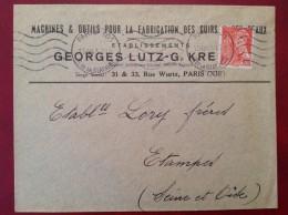 Lettre à Entête (Cuir Et Peaux) Paris Pour Etampes 30c Mercure 1943 - 1921-1960: Période Moderne