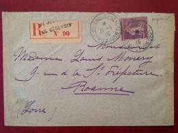 Lettre Recommandée St SAINT JULIEN EN GENEVOIS + 35c Semeuse Violet PAPIER GC + Cad Arrivée Roanne - 1921-1960: Période Moderne