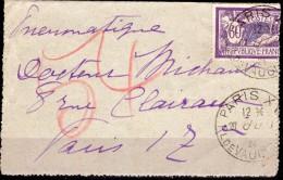 Lettre - Peumatique Du 27.1.24 - Place De Vaugirard PARIS - 1961-....
