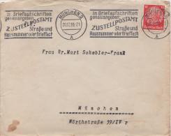 Briefumschlag Brief Deutsches Reich 1933 München Briefmarke Hindenburg 12 Pfennig Lochung Firmenlochung ? - Deutschland