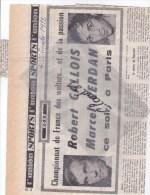 Coupure De Journal:Boxe ,Championnat De France Des Welters..Robert GALLOIS / Marcel CERDAN Ce Soir ,à Paris.. - Boksen