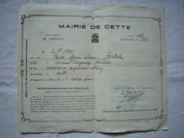 Extrait De Naissance Le 30 Juillet 1922 Mairie De CETTE (Sète, Hérault) De Paule Marie  Hortala - Historical Documents