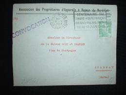 DEVANT TP MARIANNE DE GANDON 5F OBL.MEC.11 V 1949 PARIS 118 (75) CENTENAIRE DU TIMBRE-POSTE FRANCAIS GRAND PALAIS-PARIS - Storia Postale