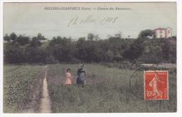 Decines-Charpieux - Chemin Des Amoureux (femme Et Sa Fille à Travers Prés - Circulé 1908, Colorisée - Autres Communes