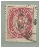 NORWAY - Sc. Nrº 40 Used   10 Ore - Perf 14 1/2 - Norvège