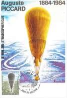 CM Monaco - Auguste Piccard - Le Ballon Stratosphérique - 1984 - Maximum Cards