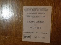 Carte De Membre Du Groupe Lyrique De Palinges - Mappe