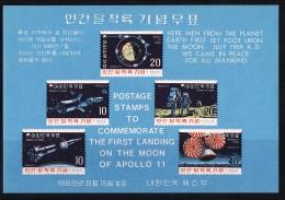 1969  Apollo 11 And Moon Landing  Souvenir Sheet  Sc 663a - Korea, South