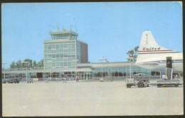TOLEDO AIRPORT UNITED AIRLINES AIRPLANE OLD POSTCARD 1959 (see S/H Details)