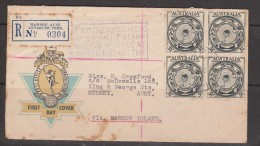 Australian Antarctic Territory 1954 Mawson Registered Cover To Sydney With Australian 3 & 1/2d Antarctic Map Block 4 - Australian Antarctic Territory (AAT)