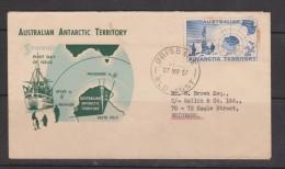 Australian Antarctic Territory 1957 2 Shilling Map On Addressed FDC , Brisbane Cds , Perf Tip Toning - Australian Antarctic Territory (AAT)