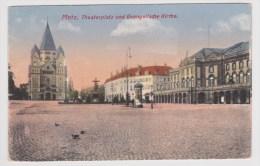 METZ - THEATERPLATZ UND EVANGELISCHE KIRCHE EN 1918 - FORMAT CPA - Metz