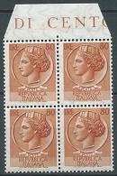 1955-60 ITALIA SIRACUSANA TURRITA STELLE 80 LIRE QUARTINA MNH ** - SR2-4 - 1946-60: Mint/hinged