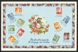 BRIEFMARKENSPRACHE LE LANGAGE DES TIMBRES Schweiz Suisse Briefmarken Technik Und Landschaft 1949 - Schweiz