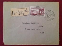 Lettre Recommandée LUC SUR MER Cad Arrivée Caen 1959 Timbre Evian - Storia Postale