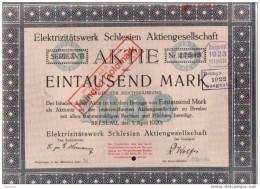Deutschland.Aktie 1000 Mark Elektrizitatswerk Schlesien Aktiengesellschaft.1920 - Banque & Assurance