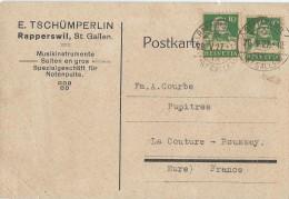 Carte Post. Sans Illustration /Fab.instrum.Musique/TSCHÜMPERLIN/St Gallen/Suisse/Courbe/La Couture Boussey/1927  PART211 - Musik & Instrumente