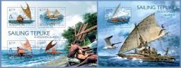 slm14517ab Solomon Is. 2014 Sailing Tepuke Ship 2 s/s
